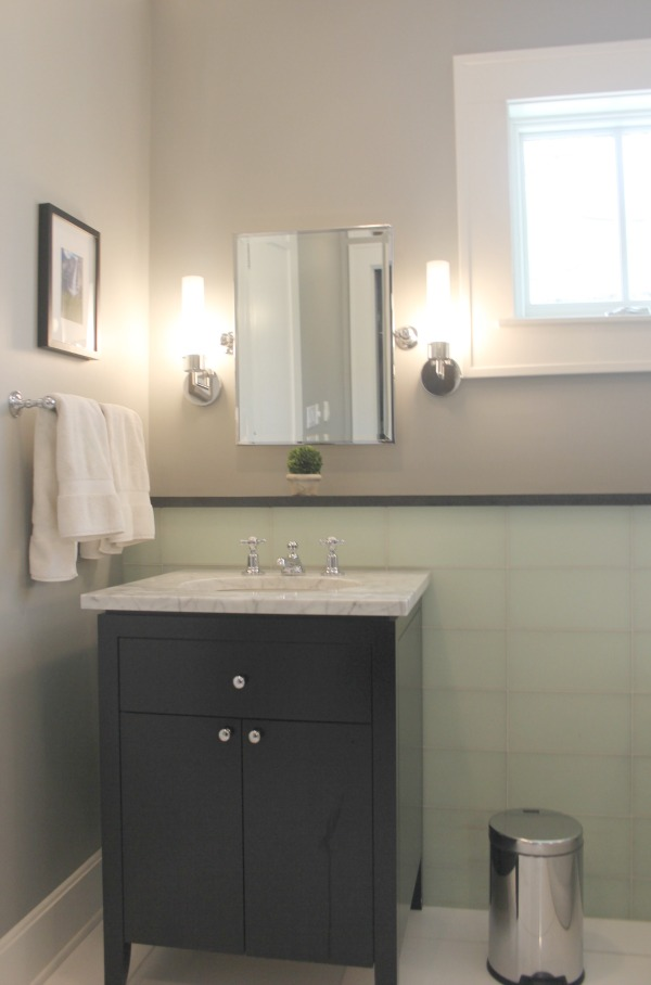 Serenely quiet minimal yet industrial farmhouse bathroom with light grey walls, Stonington Gray.