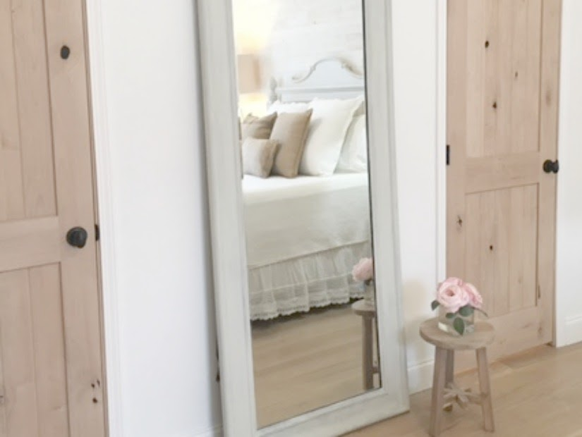 Benjamin Moore White paint in bedroom with shabby chic decor. Design and photo, Hello Lovely Studio. #hellolovelystudio #bedroom #alderdoor #shabbychic #frenchcountry #whitedecor #benjaminmoorewhite
