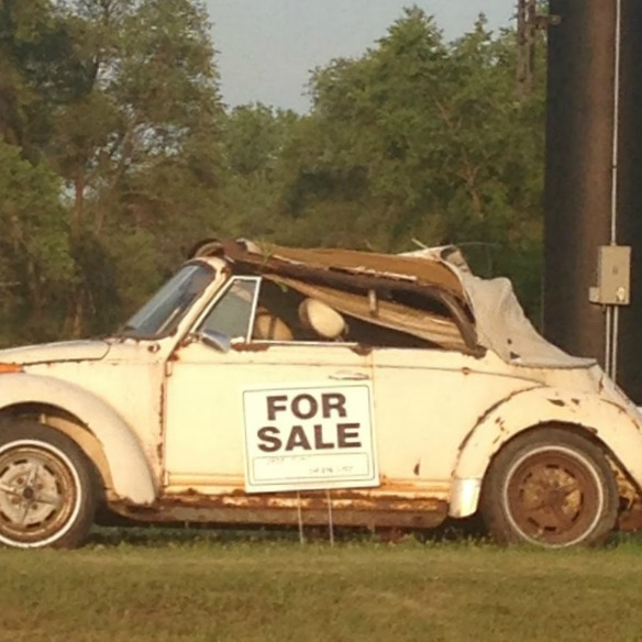 Beat up white VW Beetle with For Sale sign. Hello Lovely Studio. #imperfectbeauty #hellolovelystudio #vwbug