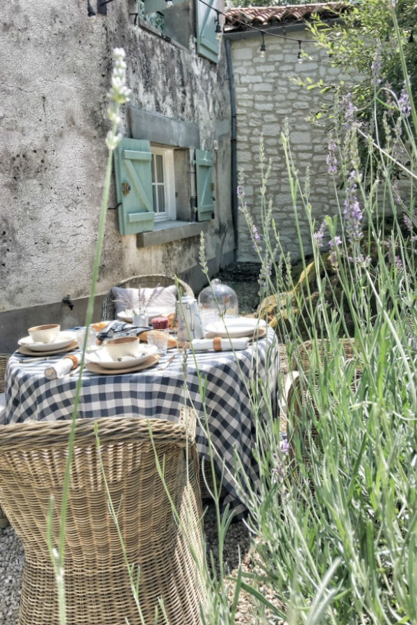 Romantic outdoor dining at this French farmhouse by Vivi et Margot. Navy check tablecloth (Maison de Vacances) available at Vivi et Margo. #frenchfarmhouse #vivietmargot #outdoordining #rusticdecor #farmhousestyle
