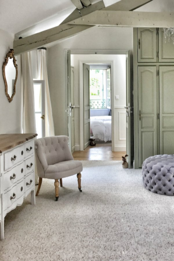 Farmhouse bedroom. Beautiful French farmhouse design inspiration, house tour, French homewares and market baskets from Vivi et Margot. Photos by Charlotte Reiss. Come be inspired on Hello Lovely and learn the paint colors used in these beautiful authentic French country interiors. #frenchfarmhouse #hellolovelystudio #frenchcountry #designinspiration #interiordesign #housetour #vivietmargot #rusticdecor #frenchhome #authentic #farrowandballfrenchgray #frenchmarket #summerhouse #europeanfarmhouse