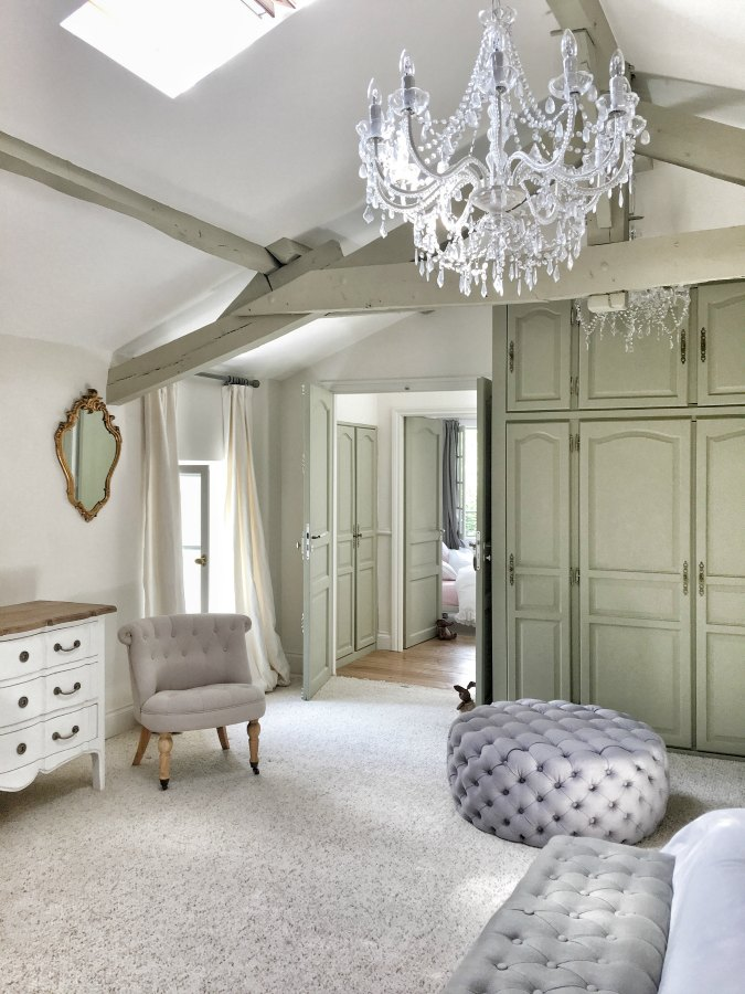 Dressing room in France. Beautiful French farmhouse design inspiration, house tour, French homewares and market baskets from Vivi et Margot. Photos by Charlotte Reiss. Come be inspired on Hello Lovely and learn the paint colors used in these beautiful authentic French country interiors. #frenchfarmhouse #hellolovelystudio #frenchcountry #designinspiration #interiordesign #housetour #vivietmargot #rusticdecor #frenchhome #authentic #farrowandballfrenchgray #frenchmarket #summerhouse #europeanfarmhouse