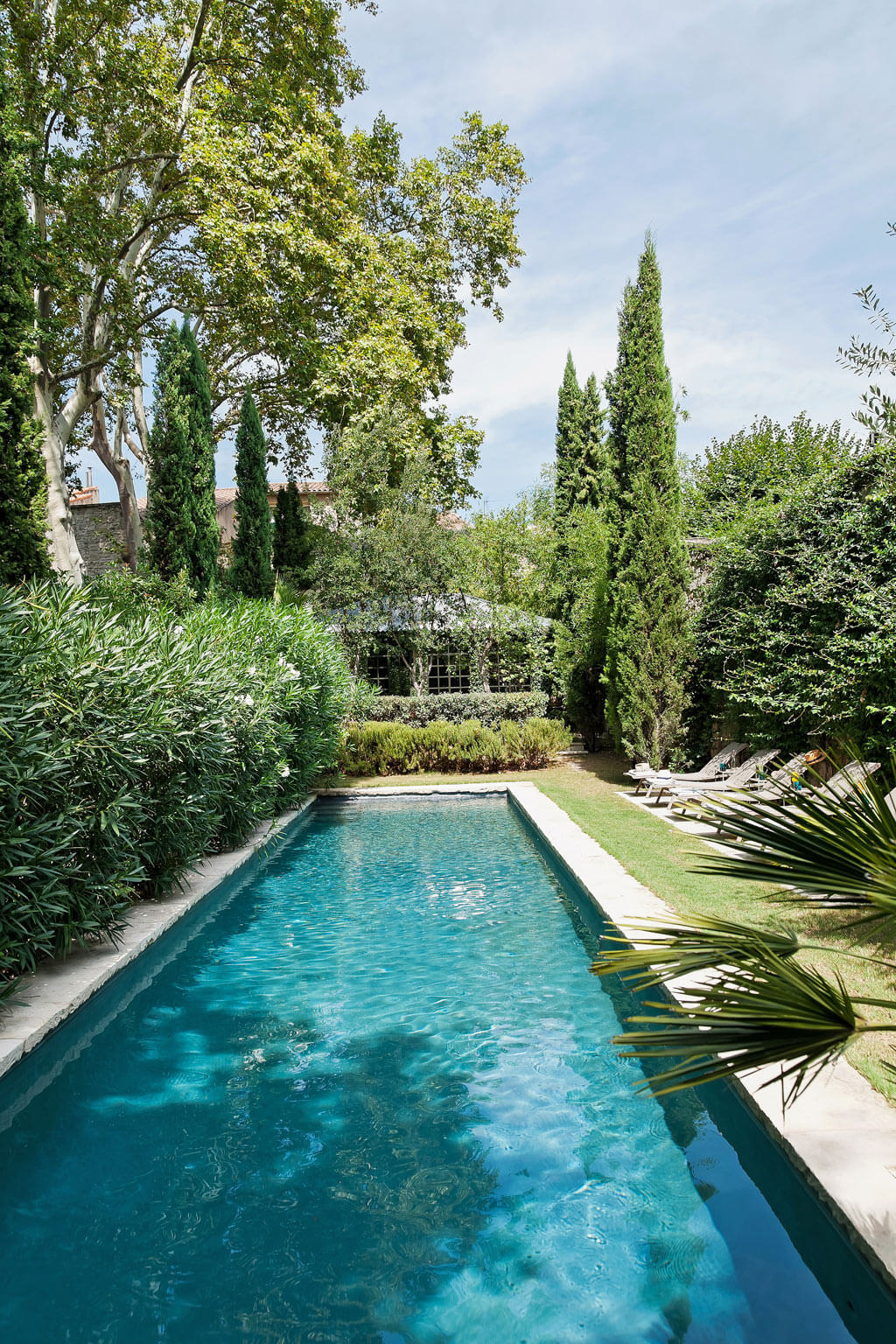 Natural, long, and narrow pool. Beautiful French country garden inspiration from a luxurious property in the South of France. Breathtaking 19th century restored French chateau with largest private garden in Avignon. Avignon Hôtel Particulier. Photo: Haven In.