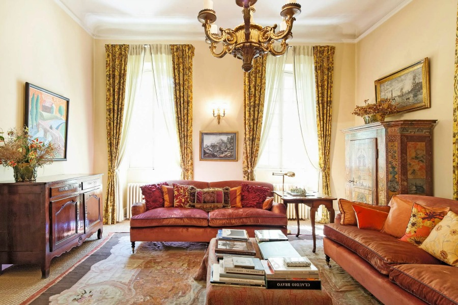 Living room. Rustic and elegant: Provençal home, European farmhouse, French farmhouse, and French country design inspiration from Chateau Mireille. Photo: Haven In. South of France 18th century Provence Villa luxury vacation rental near St-Rémy-de-Provence.