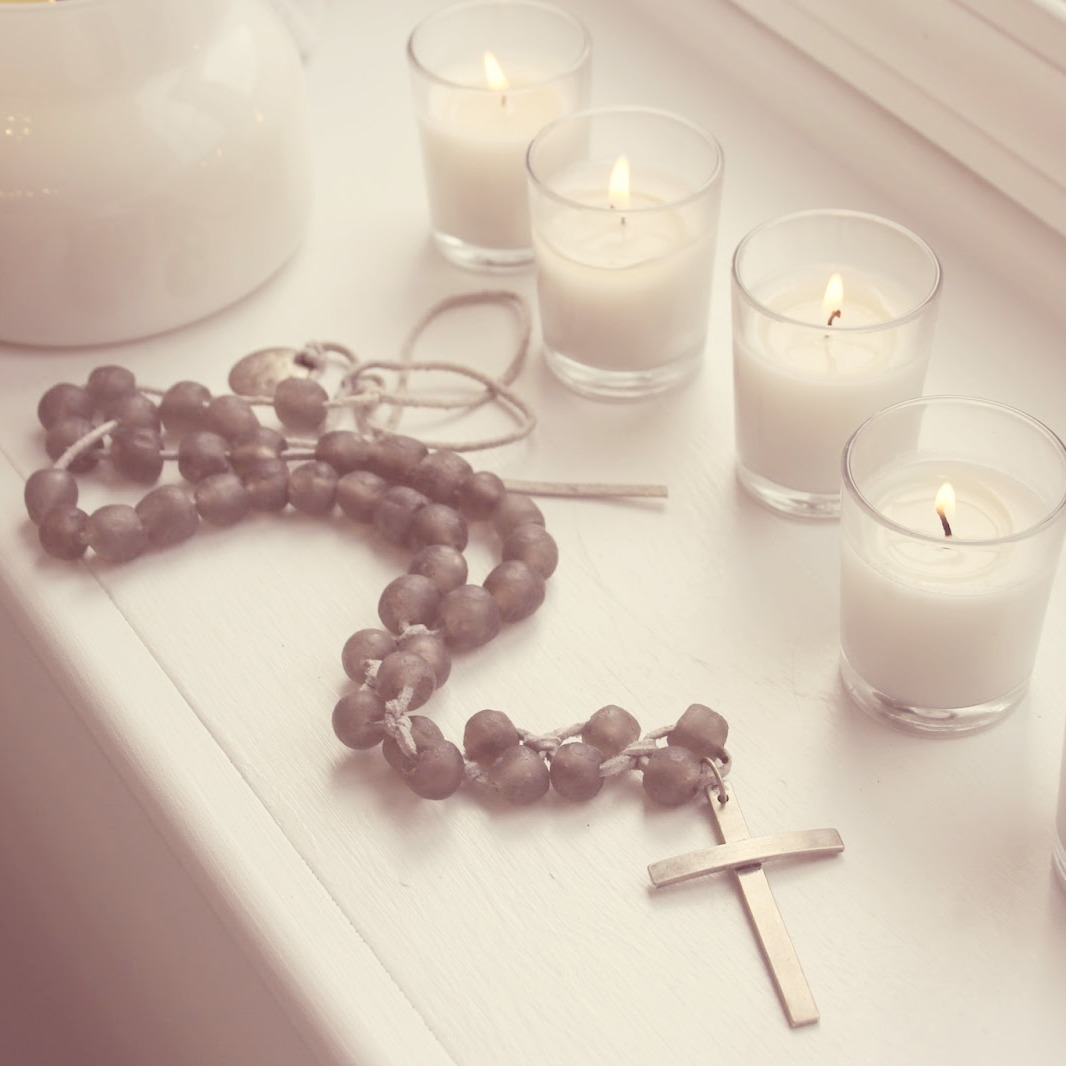 Rosary with African glass beads (necklace design by Asa Daxberg) and candlelight. Hello Lovely Studio. #hellolovelystudio #rosary #faith