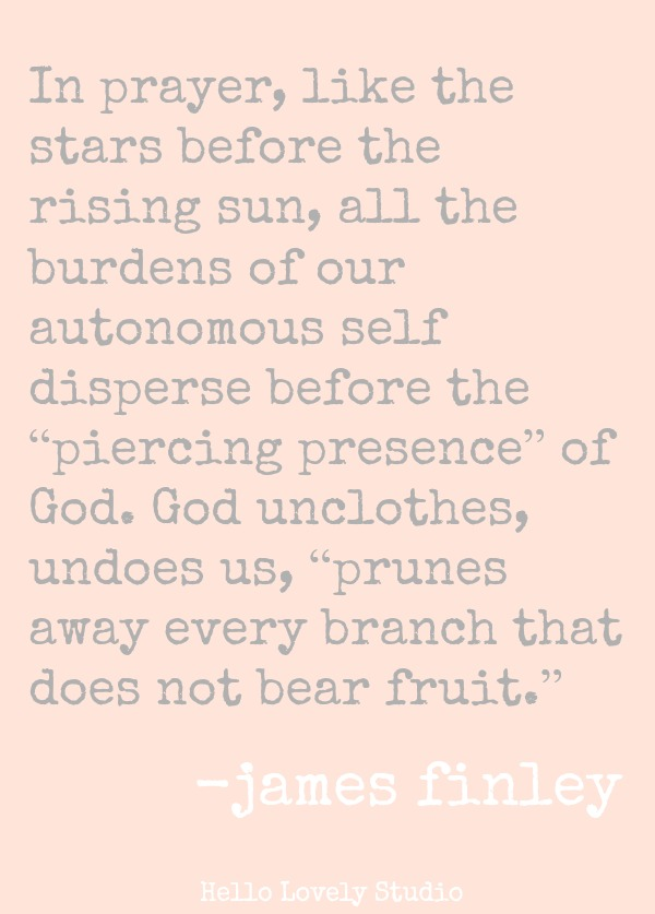 IN PRAYER, LIKE THE STARS BEFORE THE RISING SUN, ALL THE BURDENS OF OUR AUTONOMOUS SELF DISPERSE BEFORE THE 'PIERCING PRESENCE' OF GOD. GOD UNCLOTHES, UNDOES US, 'PRUNES AWAY EVERY BRANCH THAT DOES NOT BEAR FRUIT.' (James Finley) #quote #jamesfinley #prayer #faith #spiritualformation