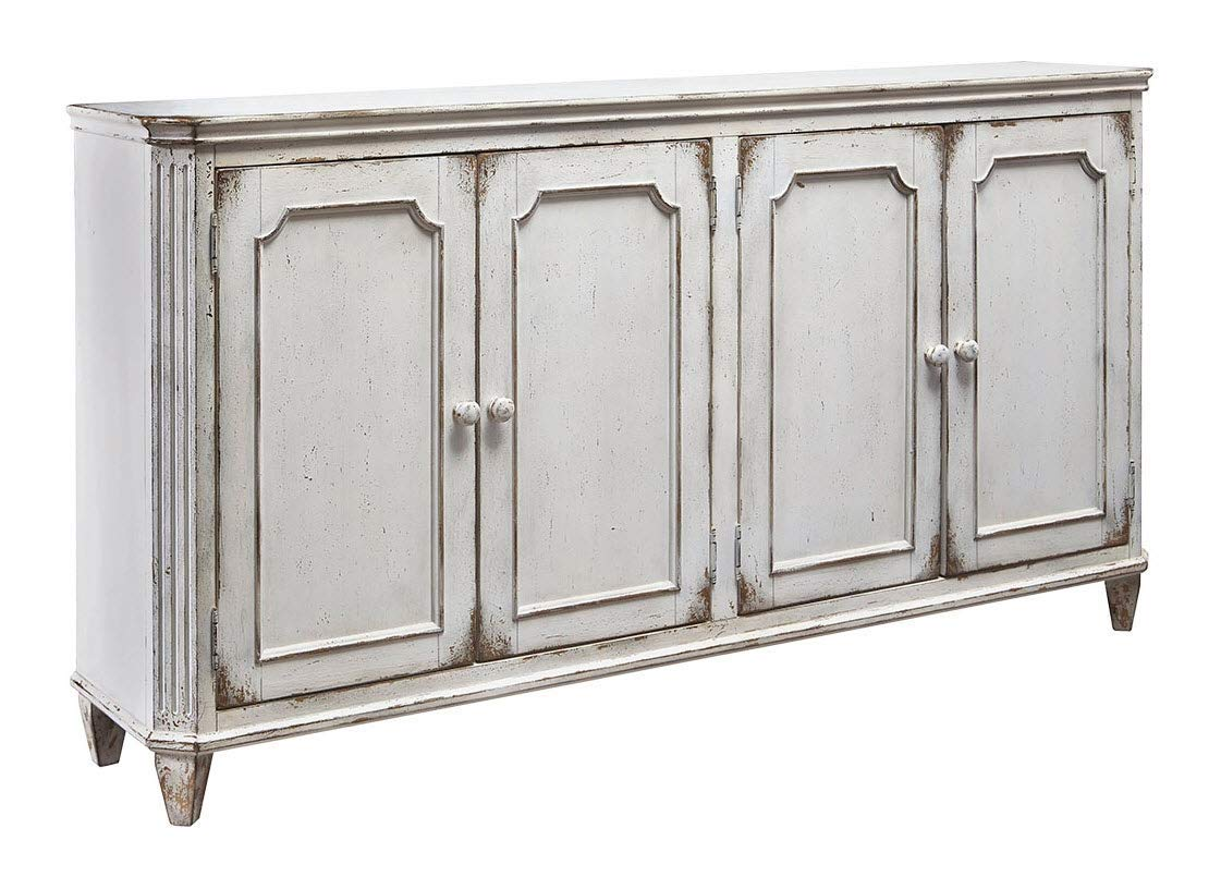 "71"" Weathered French Country 4-Door Cabinet"
