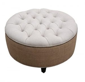 Round tufted ottoman with burlap