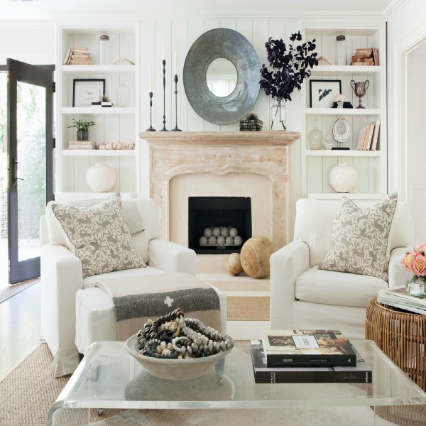 Sherry Hart's Atlanta living room in ATLANTA HOMES. Photo by Anthony Masterson. #whitedecor #sherryhart #livingroom #rusticmodern