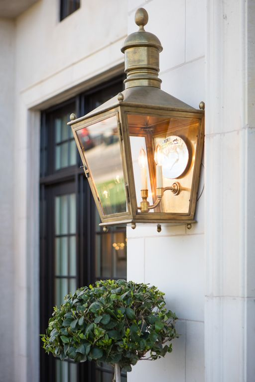 Brass exterior lantern. Modern Chic Home in the Southwest. E&A Builders. Pinnacle Conceptions. Jaimee Rose Interiors. #modern #French #housedesign #luxuryhome