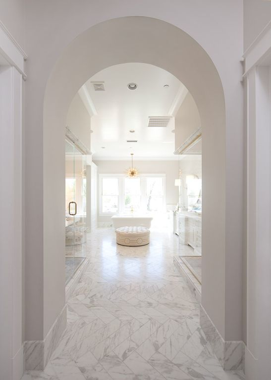 Luxurious white marble bathroom with barrel ceiling. Modern Chic Home in the Southwest. E&A Builders. Pinnacle Conceptions. Jaimee Rose Interiors. #modern #French #housedesign #luxuryhome