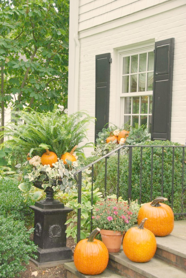 Autumn Decor Inspiration From Elizabeth/Pretty Pink Tulips. Easy ideas for adding fall wonder to your porch, planters, and window boxes. Certainly lovely indeed!