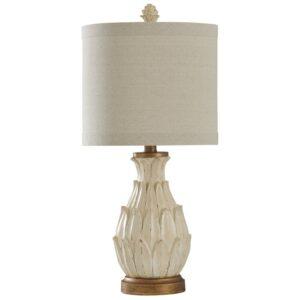 Distressed White Artichoke Lamp