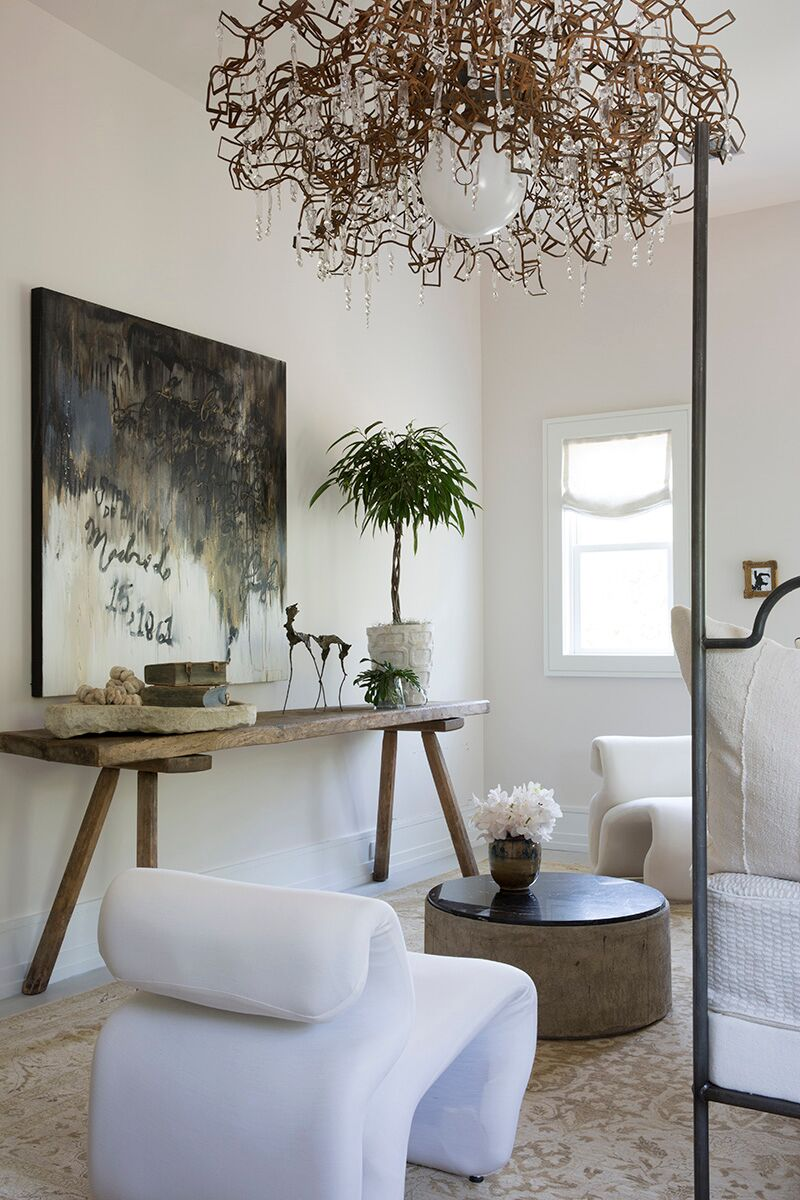 Painting by Francine Turk and minimal modern rustic luxe sophistication with interior design in the Hamptons by Michael Del Piero.