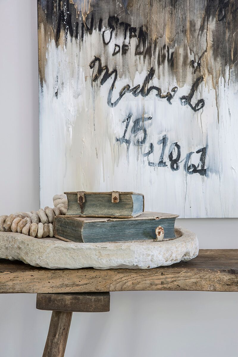 Painting by Francine Turk. Soulful organic style, rustic decor, and rough luxe interior design inspiration from Michael del Piero on Hello Lovely. #roughluxe #interiordesign #soulful #luxurydesign #rusticluxury