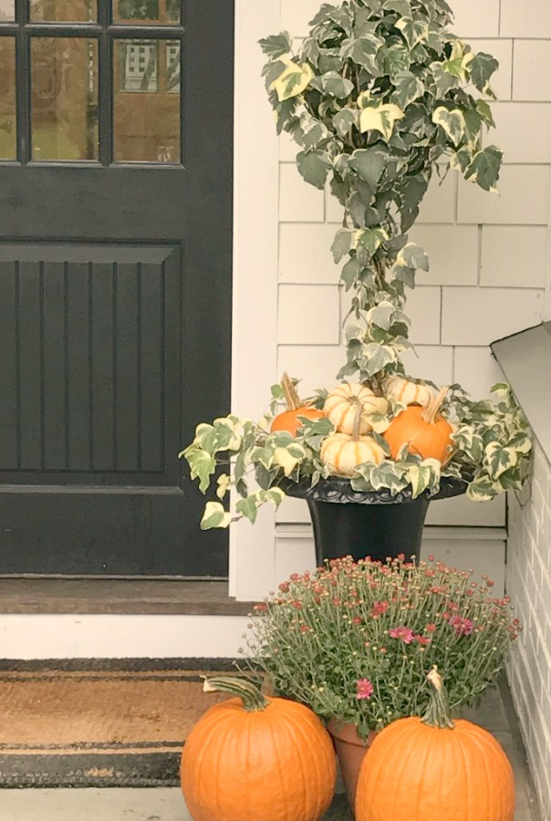 Autumn Decor Inspiration From Elizabeth/Pretty Pink Tulips. Easy ideas for adding fall wonder to your porch, planters, and window boxes. Certainly lovely indeed! #topiary #fall #outdoor #inspiration