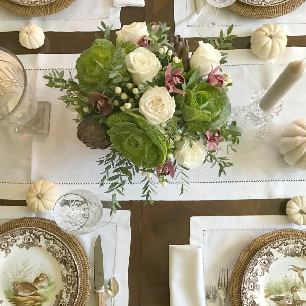 Fall tablescape with brown and white vintage plates. Elizabeth of Pretty Pink Tulips. #fall #tablescape #classic #traditional