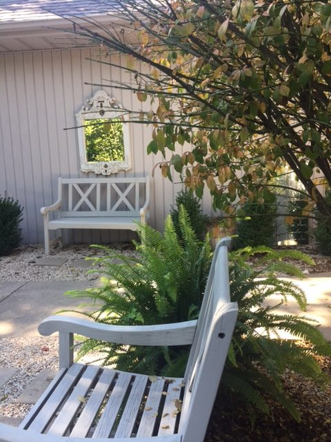My French inspired courtyard in fall. Fall leaves and inspiration for savoring the season. Visit 9 Lovely Ways to Savor Autumn Beauty for more beauty from the avenues of Paris to the American prairie. #hellolovelystudio #fallinspiration #autumn #ideas