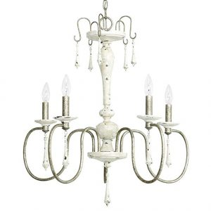 Distressed white shabby chic style French country chandelier. 5 Fixer Upper Paint Colors & 25 Decorating Ideas.