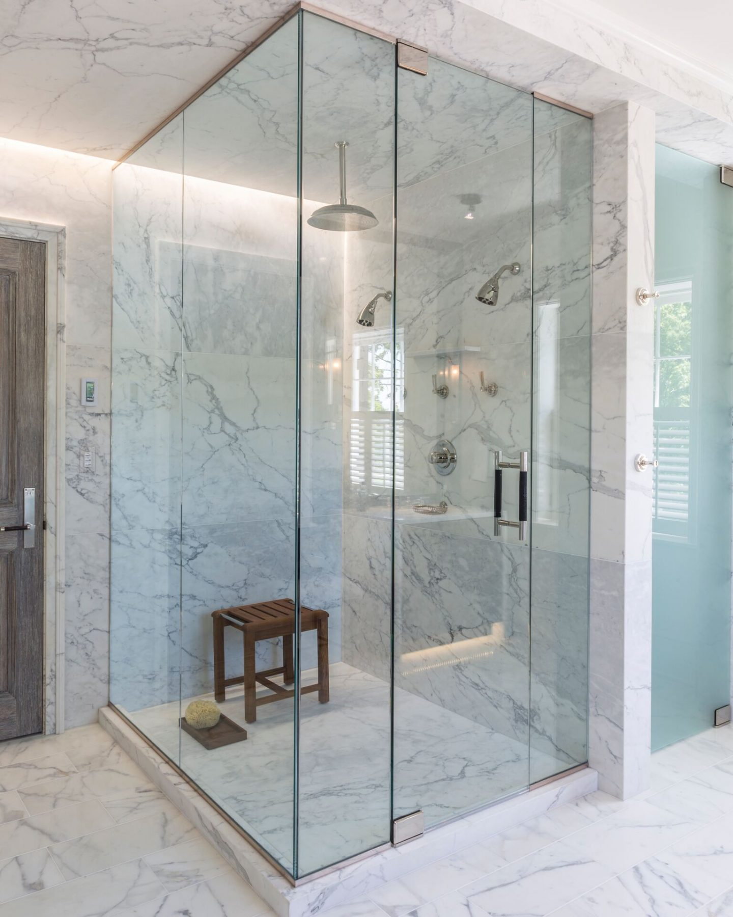 Luxurious marble shower. Classic and timeless interior design by Patrick Sutton. #patricksutton #interiordesign #luxury #timelessdesign