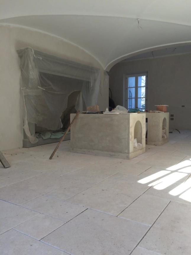 Tuscan villa kitchen under renovation by Artichoke.