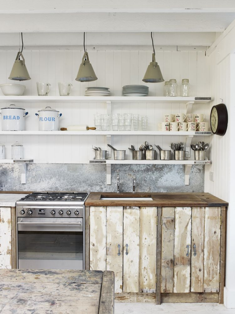 White, rustic, vintage style English country kitchen by The Beach Studios. Stunning European Country Kitchen Design Inspiration. #farmhousekitchen #rustickitchen #shabbychic #rusticluxe #roughluxe #kitchendesign