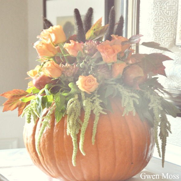 Beautiful pumpkin floral centerpiece for autumn by Gwen Moss.