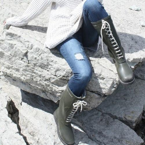 Ilse Jacobsen lace up boots in khaki green- Hello Lovely Studio