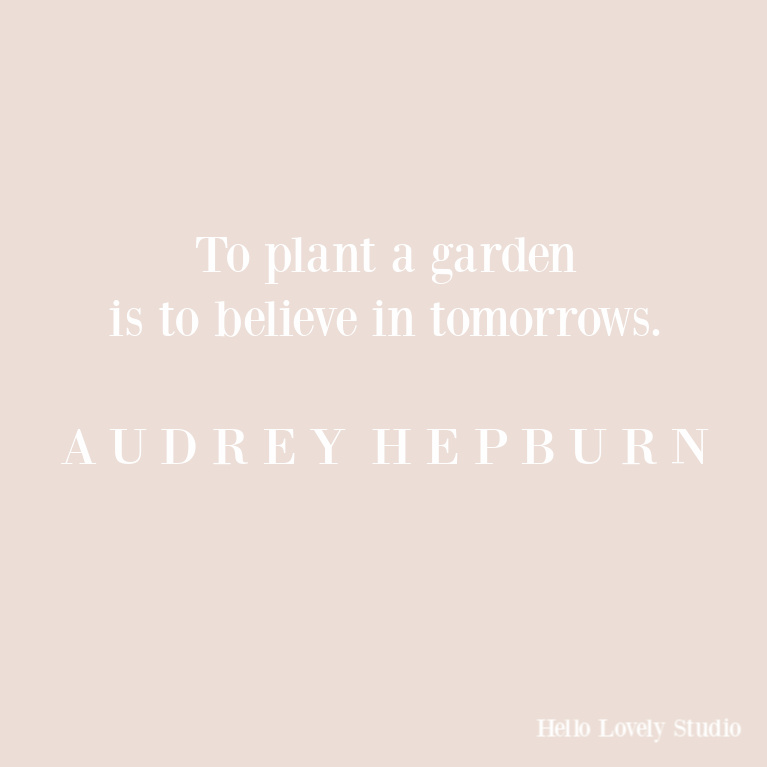 Audrey Hepburn quote about planting a garden and hope. #quotes #inspirationalquotes #gardenquote #audreyhepburn #hellolovelystudio