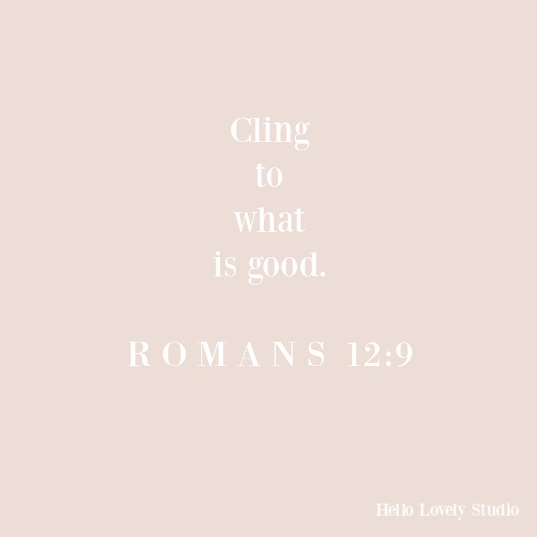 Romans 12:9: cling to what is good - Hello Lovely Studio. #quotes #scripture #biblequotes #romans #faithquote