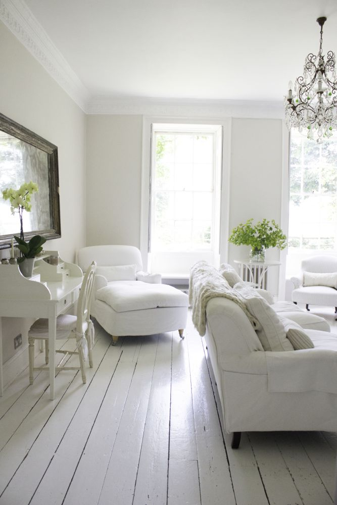 "Multiple shades of white mix for glorious cloud-like Country French Nordic White Interiors. Scandinavian style white Nordic French design details as well as spare decor style meet English countryside charm in ""The Hatch,"" a photographic location in Wiltshire. Design: Atlanta Bartlett & Dave Coote of the Beach Studios. #livingroom #scandinavian #interiordesign #whitedecor #frenchnordic #nordicFrench #Swedishstyle #serene #shabbychic"