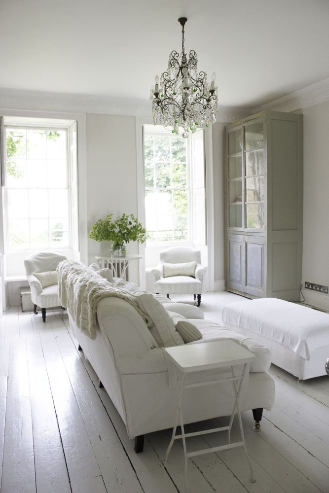 interesting french style white living room | Amazing Country French Nordic White Interiors - Hello Lovely
