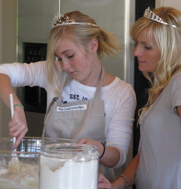 Blondes in tiaras making sourdough bread in my kitchen! Hello Lovely Studio