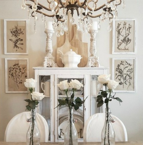 French country dining room with white decor and romantic style. The French Nest Co Interior Design.