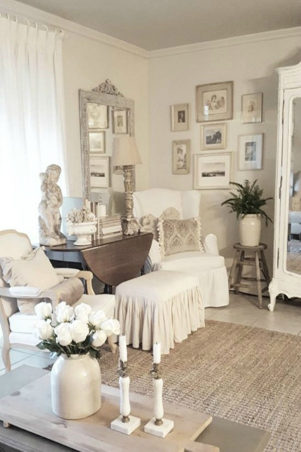 Stunning white French country living room by The French Nest.