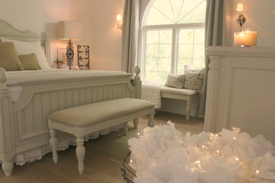 My cottage style French country bedroom at Christmas. Hello Lovely Studio.