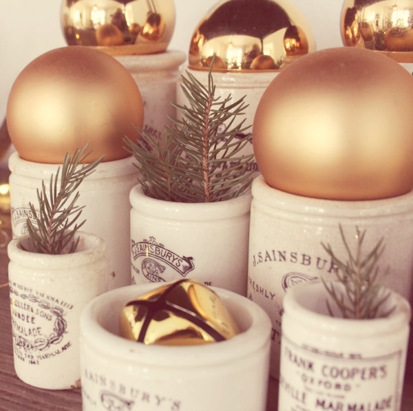 English marmalade crocks decorated for Christmas by Hello Lovely Studio.