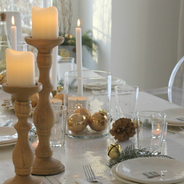 Simple white and gold tablescape for Christmas by Hello Lovely Studio.