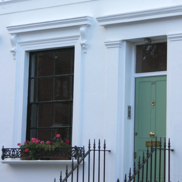 Beautiful green door in Notting Hill - Hello Lovely Studio. Come be inspired by interior design photos with French Green Paint Colors and Serene French Blue-Greens. #greenpaintcolors #mintgreen #interiordesign #paint