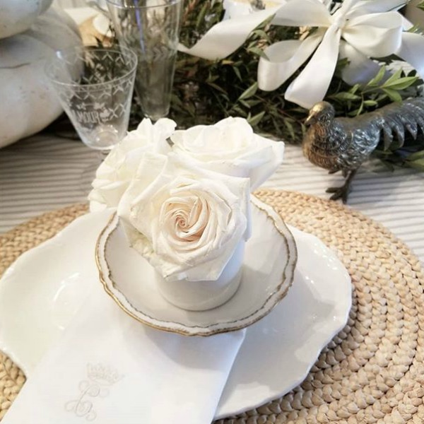 Beautiful French Country romantic placesetting by The French Nest Co Interior Design.
