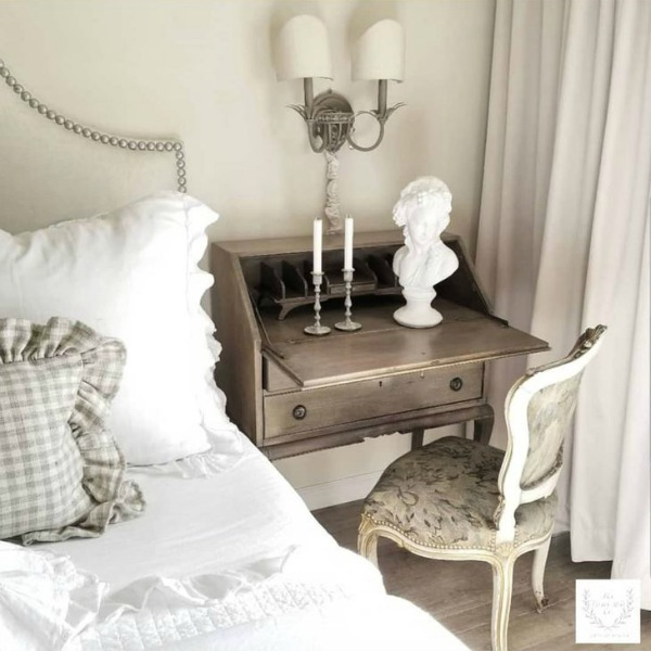 French country interior design inspiration from The French Nest Co. Come tour this beautiful French farmhouse style home with white on white romantic decor! #frenchcountry #frenchfarmhouse #interiordesign #whitedecor