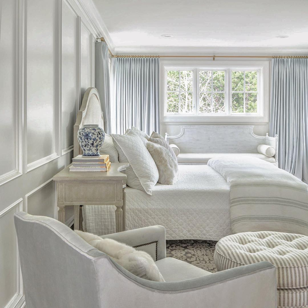 Serene bedroom with light blue and quiet subtle decor. #thefoxgroup #bedroom #serene