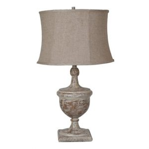 French country distressed white lamp