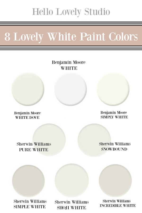 8 Lovely White Paint Colors to consider. My favorite whites. Hello Lovely Studio. #whitepaint #bestwhitepaint #paintcolors