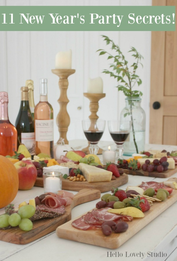 Come be inspired by these party ideas, recipes, and creative entertaining suggestions for a New Year's celebration! #hellolovelystudio #newyearseve #partyideas #entertaining #partyfood