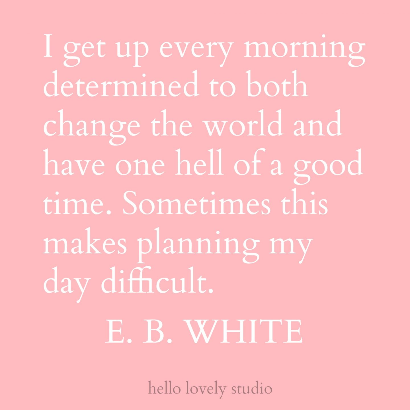 Inspiring and funny quote by E. B. White. I get up every morning determined to both change the world and have one hell of a good time. Sometimes this makes planning my day difficult. Hello Lovely Studio.