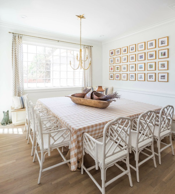 Traditional style breakfast dining area in a beautiful kitchen by The Fox Group. Classic coastal style white kitchen reminiscent of Something's Gotta Give kitchen!