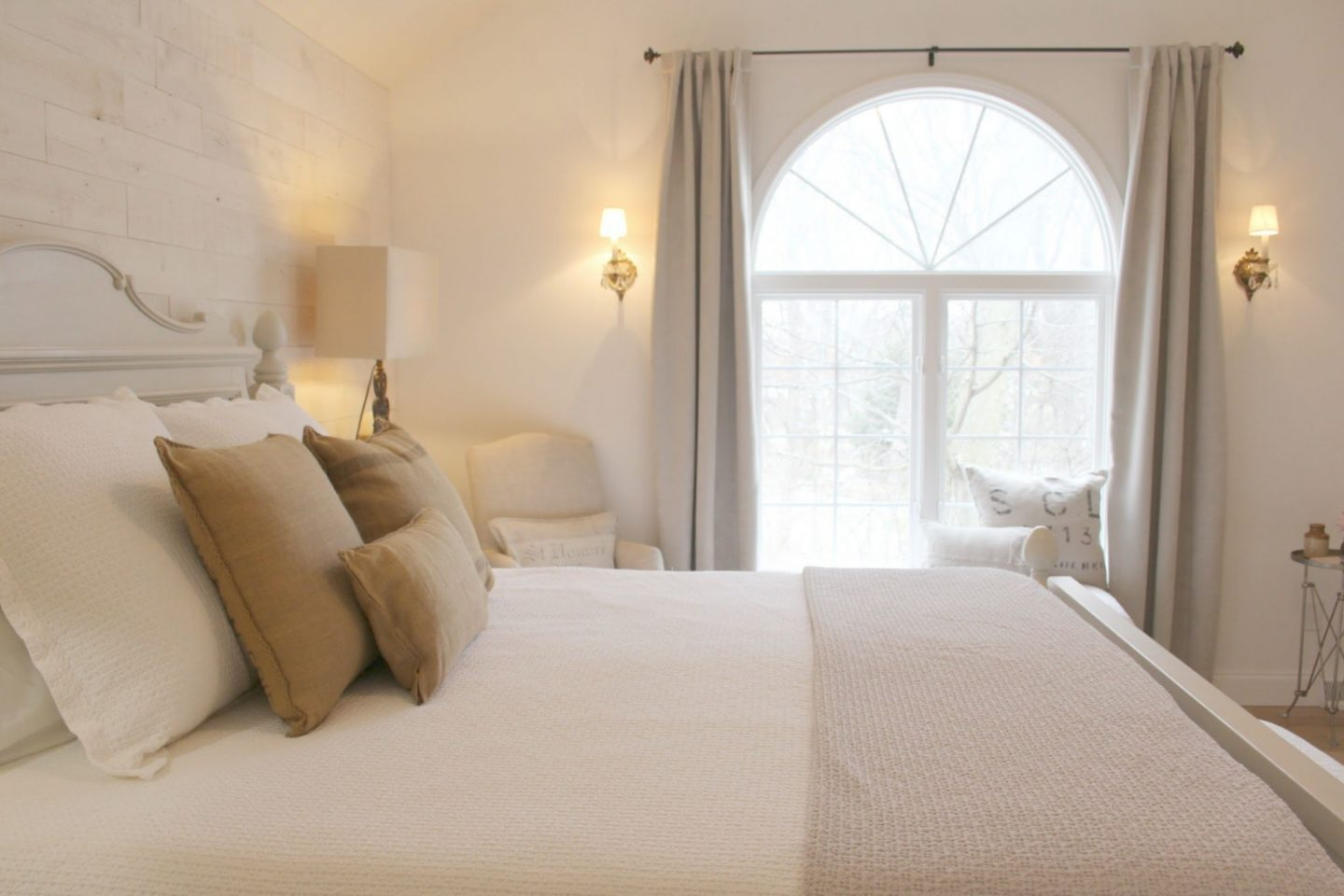 Nordic French cottage bedroom with neutrals and white. Come see renovation photos in Before & After: My Home Renovation.