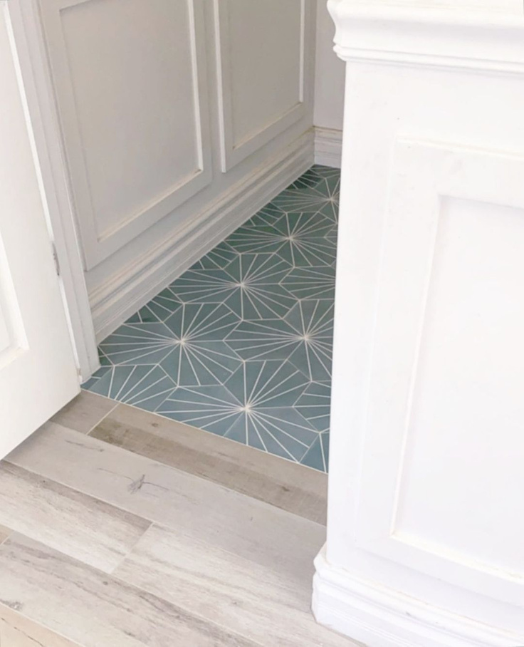 Beautiful beachy blue cement tile flooring in a gorgeous design by Beckmannhouse. #cementtile #bluetile #tileflooring
