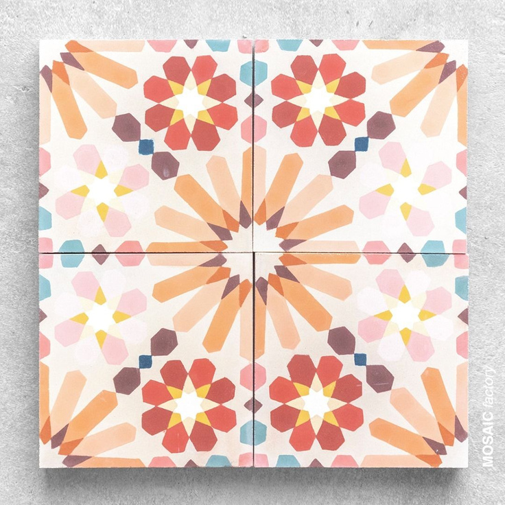 "Gorgeous cement tile called ""Little Miss Sunshine"" from @mosaic.factory. #encaustictile #cementtile #happycolors"